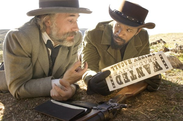 "A German dentist turned bounty hunter (Christoph Waltz) and a slave (Jamie Foxx) form an unlikely partnership in Quentin Tarantino's ""Django Unchained."""