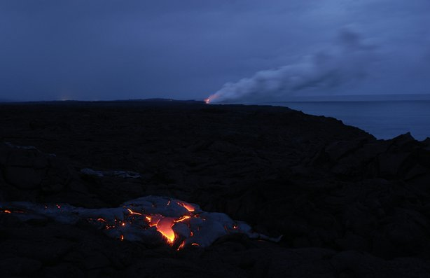 Night eruption in Kilauea, Hawaii.