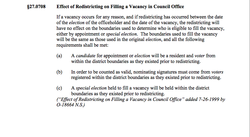 This section of San Diego's Municipal Code dictates that the special election in District 4 must be held using the old district boundaries.