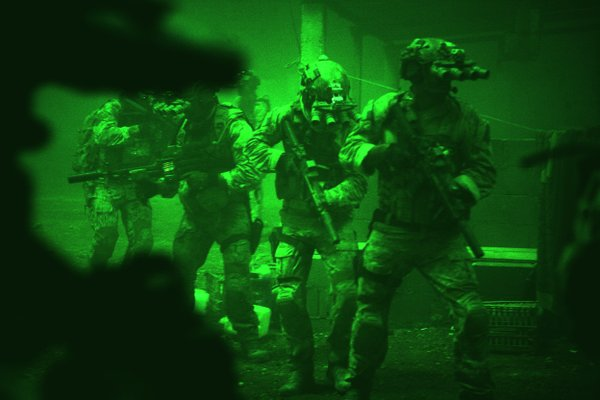 "The Navy SEALS entering Osama Bin Laden's compound in ""Zero Dark Thirty."""