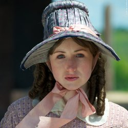 "Kate Lyn Sheil as Harriet Beecher Stowe, author of ""Uncle Tom's Cabin."""