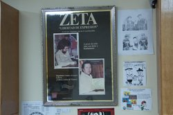 "Images of original Zeta co-directors Jesus Blancornelas and Héctor ""Gato"" Felix keep their legacies alive at the Zeta offices."