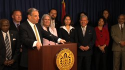 San Diego Mayor Bob Filner introduces the new members of his staff to the public on Jan. 7, 2013.
