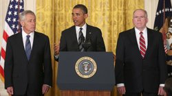 Former Sen. Chuck Hagel, left, President Obama and counterterrorism adviser John Brennan at today&#39;s announcement.