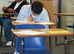 A student takes a California state mandated test at James Logan High School in Union City, California.
