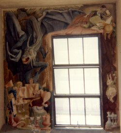Another photograph of the Alice in Wonderland mural taken by Evelyn Kooperman before her favorite mural was painted over in the 1980s. 