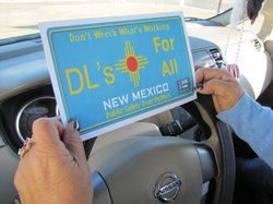 A mock driver's license plate immigrant advocates use to defend a New Mexico law that allows undocumented immigrants to get a driver's license.