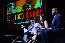 "During PBS' INDEPENDENT LENS ""Soul Food Junkies"" session at the TCA Summer Press Tour in Los Angeles, Calif. on Saturday, July 21, 2012, comedian and social activist Dick Gregory, series host Mary-Louise Parker, filmmaker Byron Hurt and series producer Lois Vossen discuss the soul-food tradition and its relevance to black cultural identity."