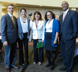 Ray King (right) at the San Diego Urban League&#39;s Diversity Conference and Awards Luncheon in 2011, along with (left to right) board member Ignacio de la Torre, and KPBS staff: Diversity Coordinator Ashley Rodriguez, Station Manager Deanna Mackey, and the Director of Diversity Monica Medina.  