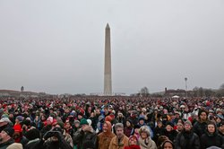 Packed crowds outside the first inauguration of President Obama.