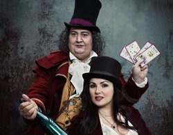 Ambrogio Maestri as Dr. Dulcamara and Anna Netrebko as Adina in Donizetti&#39;s &quot;L&#39;Elisir d&#39;Amore.&quot; 