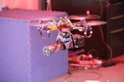 A quadrotor UAV has been programmed to independently build a structure out of building blocks.