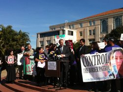 San Diego Mayor Bob FIlner address a crowd of Immigrant rights activists on Jan. 22, 2013.
