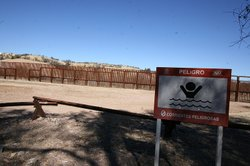 The new U.S.-Mexico border fence west of Nogales actually sits about 40 feet north of the physical boundary, creating a sort of no-man&#39;s land marked by low-slung vehicle barriers. 