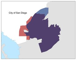 A map of San Diego's District 4. The red sections represent the portion of the district removed during 2010 redistricting. The blue section is the new addition to the district. Purple represents the area that remained District 4 after redistricting.