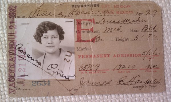 An immigrant ID card from the 1920s and 30s for Rosaura Piñera, who later became a U.S. citizen at age 100.