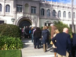 San Diegans line up to hear an address by Supreme Court Justice Sonia Sotomayor at the Shiley Theatre at USD.