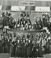 The Ford English School graduating class as they emerged from the &quot;Melting Pot,&quot; 1916.
