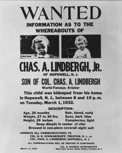 Baby Lindbergh Wanted Poster, 1932.