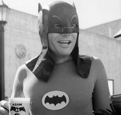 Adam West enjoys his morning coffee before a day of shooting on the 1960s BATMAN television series.