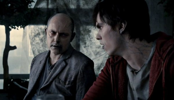 "Rob Corddry (left) as M, R's (right) best friend in ""Warm Bodies"""