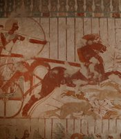 Scene of hunting from a chariot, found in a tomb.