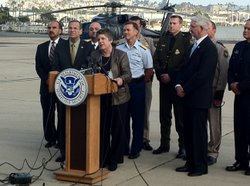 Secretary of Homeland Security Janet Napolitano answers questions after meeting afternoon with state and local officials at the U.S. Coast Guard District Maritime Unified Command.