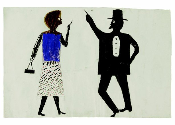 """Man, Woman, ca. 1940–1942"" by Bill Traylor, one of 60 rare drawings on view at the ""Bill Traylor"" exhibit at the Mingei International Museum."