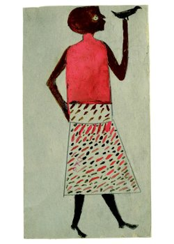 """Woman with Bird, ca. 1940-1942"" by Bill Traylor"