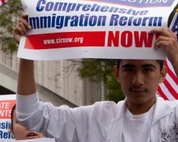 A young man rallies for comprehensive immigration reform in 2010. Photo by Richard Morgan