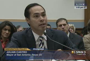 San Antonio Mayor Julian Castro speaks at the House Judiciary Committee hearing Tuesday.