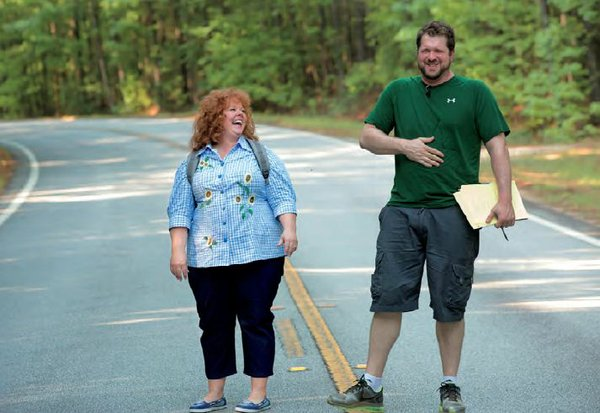 Melissa McCarthy and director, Seth Gordon share a laugh on the set of &quot;Identity Thief.&quot;