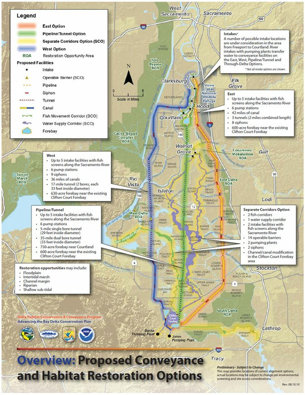 A map of proposed water tunnels.
