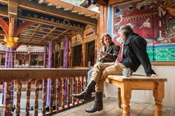 "Jeremy Irons (right) discussing ""Henry IV"" and ""Henry V"" with Dominic Dromgoole (left) of the Globe Theater."