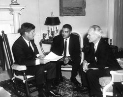 JFK, Whitney Young and Henry Steeger in the Oval Office.