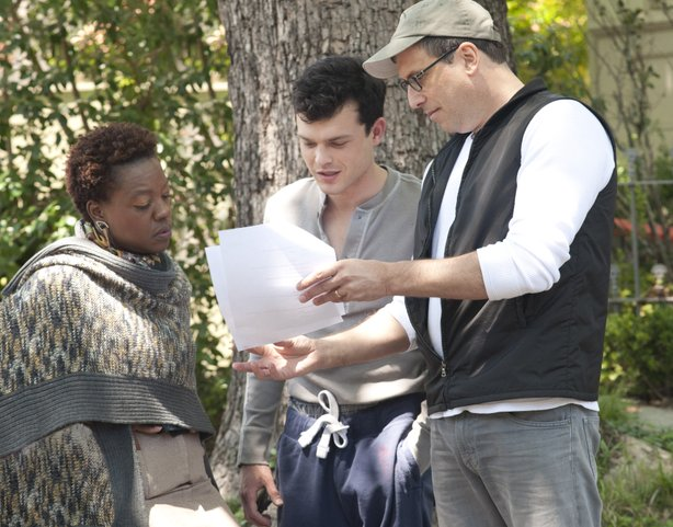"Actors Viola Davis and Alden Enrenreich on the set of ""Beautiful Creatures"" with director Richard LaGravenese."