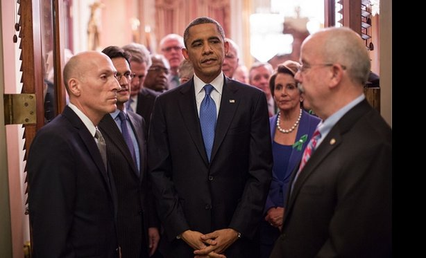 President Barack Obama waits with Sergeants at Arms and Members of Congress before entering the House Chamber to deliver the State of the Union address at the U.S. Capitol in Washington, D.C., Feb. 12, 2013. Standing with the President are, from left: Paul Irving, House Sergeant at Arms: House Majority Leader Eric Cantor, R-Va.; Leader Nancy Pelosi, D-Calif; and Terrance Gainer, Senate Sergeant at Arms. (Official White House Photo by Pete Souza)