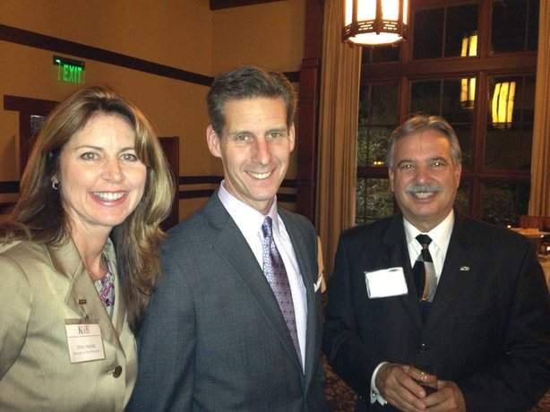 KPBS Director of Development Trina Hester with Marketplace host Kai Ryssdal and KPBS General Manager Tom Karlo.
