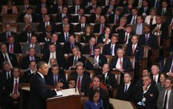 President Barack Obama delivers his State of the Union speech before a joint session of Congress at the U.S. Capitol February 12, 2013 in Washington, DC. 
