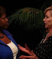 PBS NewsHour host Gwen Ifill talks personally with some KPBS Producers Club members after giving remarks at the KPBS Shiley Studio on 2/9/13.