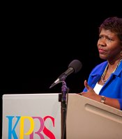 PBS NewsHour host Gwen Ifill speaks to KPBS Producers Club members at KPBS Shiley Studio on February 9, 2013.