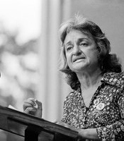 Betty Friedan, co-founder of National Organization for Women (NOW), speaks during the Women's Strike for Equality event in New York's Central Park for the 50th Anniversary of woman suffrage, August 26, 1970.