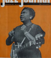 Sister Rosetta Tharpe on the cover of the British music magazine Jazz Journal in November 1957.