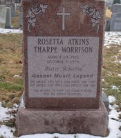 The headstone at the grave of Sister Rosetta Tharpe in Northwood Cemetery, Philadelphia.