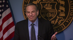 Mayor Bob Filner speaks after crashing a press conference held by City Attorney Jan Goldsmith.
