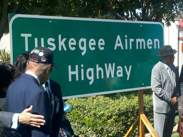 A new sign on Interstate 15 honoring the Tuskegee Airmen.