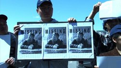 A protestor in New York City holds a sign about Ai Weiwei's disappearance in April 2011.
