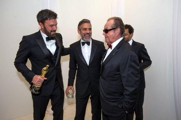 "Ben Affleck, George Clooney, and Jack Nicholson backstage at the Oscars after ""Argo"" best picture win."