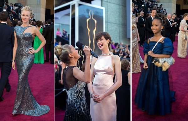 On the red carpet: Naomi Watt looked like a mermaid; Kristen Chenoweth was voted most in need of an apple box to stand on while Anne Hathaway perfected her fake laugh; and Quvenzhané Wallis rocked the stuffed animal purse.