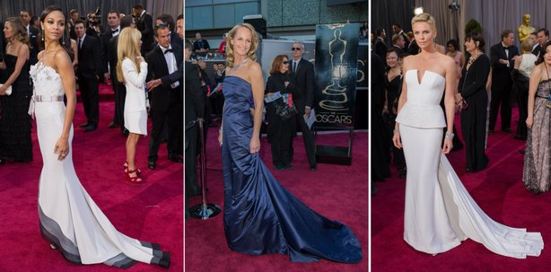 Trains on dresses were in on the red carpet: Zoe Saldana, Helen Hunt, and Charlize Theron demonstrate the look.